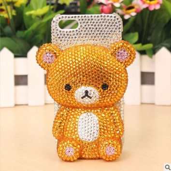 3D bear samsung galaxy s4 case - Bling Samsung galaxy S3 case - crystal Samsung galaxy S3 i9300 case cover, iphone 4 4s 5 5g