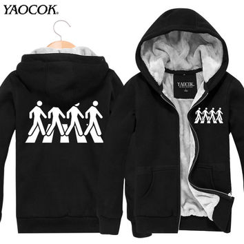New Fashion Winter Brand Punk Jackets And Coats The Beatles Rock Band Hoodie Cardigan Thickening Hooded Punk Men Sweatshirt