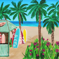 Surf Art, Surf Decor, Coastal Decor, Surf Shack, Palm Trees, Tropical Art Prints
