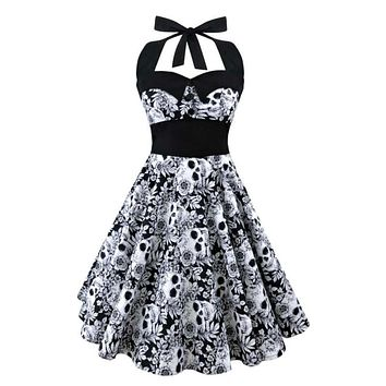 Bohemian  Summer New S-5XL Plus Size Dress Women Punk Strapless Halter Party Dresses Bowknot Self Gothic Vestidos Clothing Swing