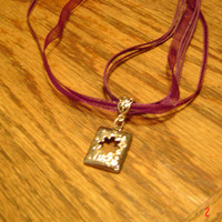 purple necklace silvertone pendant Girls womne  OOAK handmade Ribbon Jewelry