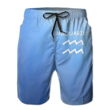 Aquarius Logo Mens Fashion Casual Beach Shorts