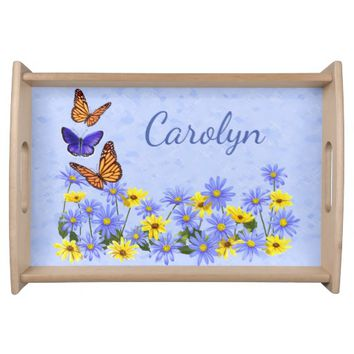 Pretty Butterflies and Daisies Spring Garden Serving Tray