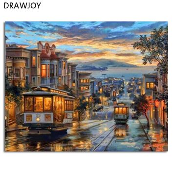 Europe Landscape Frameless Pictures DIY Painting By Numbers Wall Art Acrylic Painting On Canvas and Painted Home Decor GX8322
