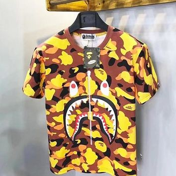 BAPE camouflage shark print T-shirt very eye-catching personality fashion sense tee