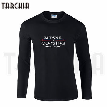 TARCHIIA Brand Eur Size Long Sleeve Tee Game of Thrones Winter Is Coming STARK Print Men's T-Shirt 100% Cotton Plus Size Homme