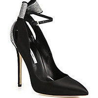 Brian Atwood - Magda Strass Crystal & Satin Bow Pumps - Saks Fifth Avenue Mobile