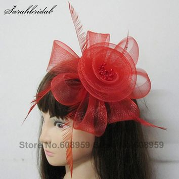 In Stock 2017 New Arrival Black/Red/Purple Headwear Flower Hair Tulle Feather Flower Hair Accessories For Women 18034