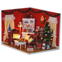 Dollhouse Miniature DIY Kit w Cover Led music Christmas Xmas Living Room
