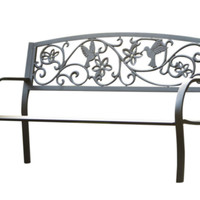 Hummingbird Metal Garden Bench Outdoor Weather Resistant Furniture Black Finish