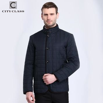 New Spring Men Jackets Quilted Check Cotton-padded Coats Business Casual Male