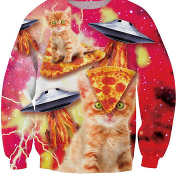 Bacon Space Pizza Cats Crew Neck Sweatshirt Men & Women Aliens Cats In Space Pizza In Space Harajuku Style All Over Print Red Sweater
