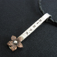 Bloom Flower Mixed Metal and Leather Necklace Adjustable Leather Necklace Hand Stamped Jewelry BooBeads Bloom Necklace