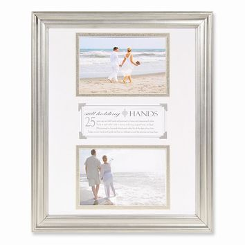 25th Anniversary Still Holding Hands Double Photo Frame