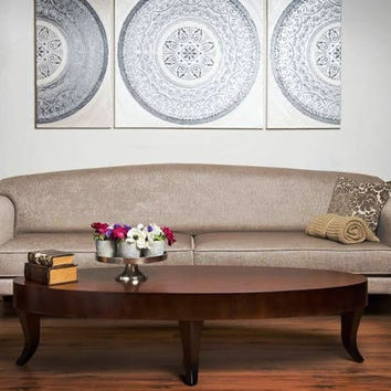Original abstract metallic silver-pearl oil painting, 3 piece circles modern wall art, Large wall painting on canvas , Huge House Artwork