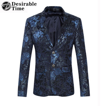 Men Velvet Patchwork Blazers and Jackets New Arrival Fashion Stage Party Casual Floral Blazers For Men