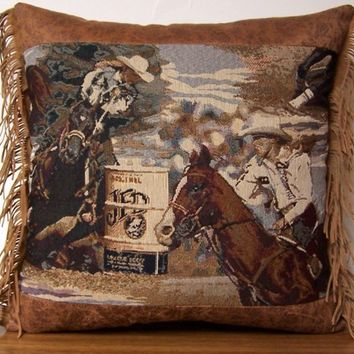 Western Barrel Racing Rodeo Tapestry Pillow