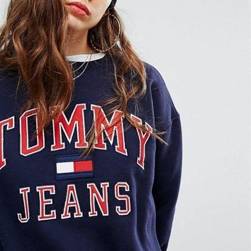 Gotopfashion Tommy Hilfiger Trending Long Sleeve Print Logo Sweatshirt Pullover Top Sweater Blue I