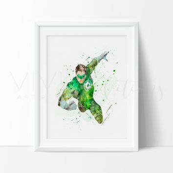 Green Lantern Watercolor Art Print