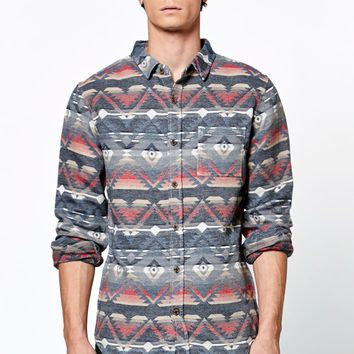 On The Byas Kings Jacquard Long Sleeve Button Up Shirt - Mens Shirt - Multi