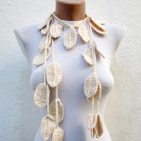 Scarf,crochet Lariat Scarf,Cream  Leaf Scarf,Necklace Scarf
