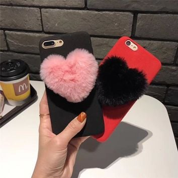 Luxury Winter Soft Warm Rabbit Fur Ball Heart Tassel Case Furry Hair Phone Back Cases For iphone 6 6s 7 7plus 8 plus X