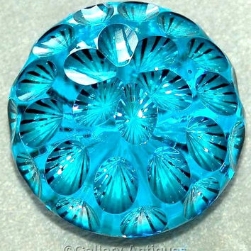 Vintage Webb Corbett crystal cut Kingfisher Blue flashed Faceted Art Glass heavy Paperweight star cut base c.1970's (ref: 4001)