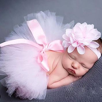 Newborn Photography Props Infant Girl Pettiskirt Princess Baby Tutu Skirt Flowers Headband Baby Props For Photography fotografia