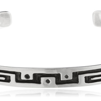 Real 925 Sterling Silver Adjustable Solid Cuff Bangle Bracelet with Greek Key Designs
