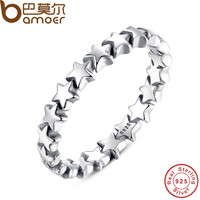 BAMOER Star Trail Stackable Finger Ring For Women Wedding 100% 925 Sterling Silver Jewelry New Collection PA7151