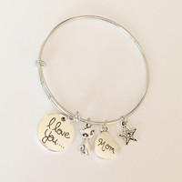 Charm Expandable Wire Bracelet Bangle - I Love You