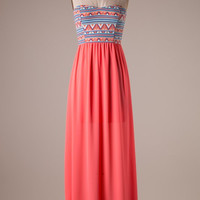 Coral Aztec Strapless Maxi Dress (Large)