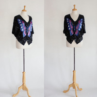 Batwing Top / Butterfly Batwing Top / 80s Glam Top / Trophy Top / Sequined Blouse / 80s Party Top