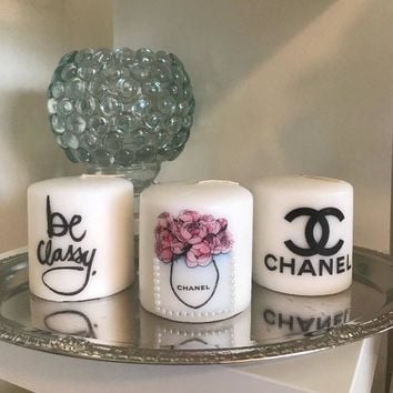 Be Classy Chanel inspired set of 3 pillar candles