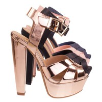 Sedona Rose Gold Towering High Platform Block Heel Sandal, Women Open Toe Chunky Shoes
