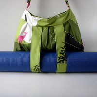 Yoga Bag Green with straps for yoga mat Handmade by LslieArt