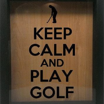 "Wooden Shadow Box Wine Cork/Bottle Cap Holder 9""x11"" - Keep Calm And Play Golf with Golfer"