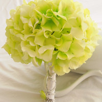 Wedding Bouquet Green White Hydrangea Wedding Bouquet- Green and White Hydrangea and Zinnias Bridal Bouquet