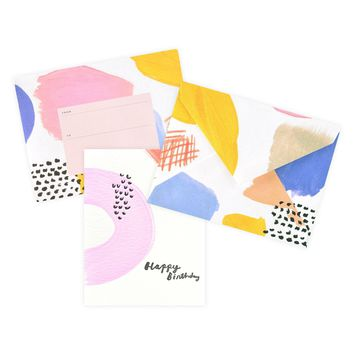 Hand-Painted Color Party Pink Birthday Card
