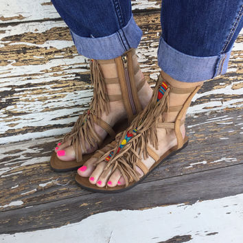 Z&L Beaded Fringe Gladiator Sandal