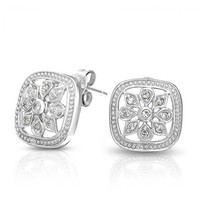 Bling Jewelry Snowy Square Studs
