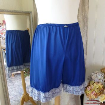 Glam Garb Bloomers Cobalt Lapis Blue Plus Size Handmade USA Romantic Elegant Victorian Steampunk Vintage, Hand Dyed, Retro Embellished OOAK
