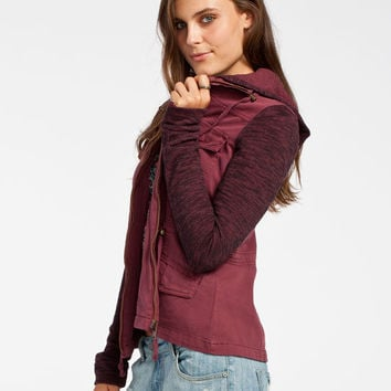Others Follow Breakup Womens Twill/Fleece Jacket Burgundy  In Sizes