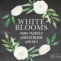 Watercolour White Flowers Wreath Floral Clipart - Wedding Garland Hand Painted INSTANT Download Bridal Green Art PNG & JPEG Wedding Leaves