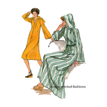 70s VOGUE CAFTAN PATTERN Hooded Caftan Boho Hoodie Dress Hippie Dresses CoverUp Very Easy Vogue 9250 Size 8 Bust 31.5 Womens Sewing Patterns