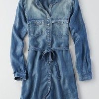 AEO Women's Denim Shirt Dress (Medium Wash)