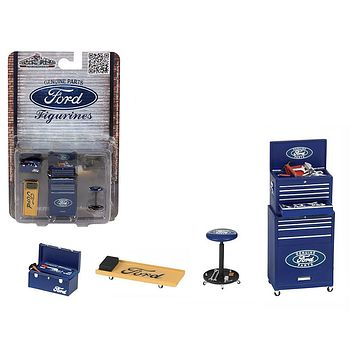 Ford 4 Pieces Garage Tools Set For 1/18 Scale Models by Motorhead Miniatures