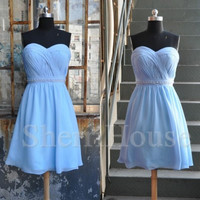 Sweetheart Strapless A-Line Short Bridesmaid Celebrity dress ,Chiffon Evening Party Prom Dress Homecoming Dress