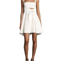 cinq a sept Nyma Front-Tie Sleeveless Mini Dress, Ivory