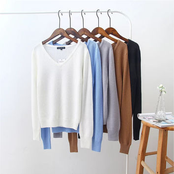 Winter Vintage Women's Fashion V-neck Knit Pullover Sweater [8940803335]